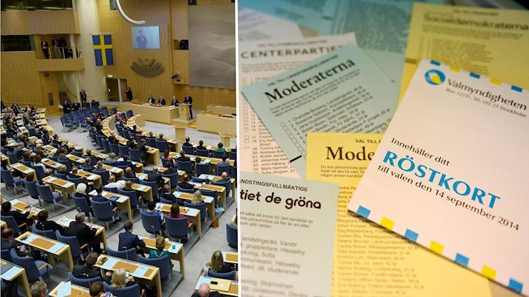 En bild på Sveriges riksdag och en bild på valsedlar och röstkort.