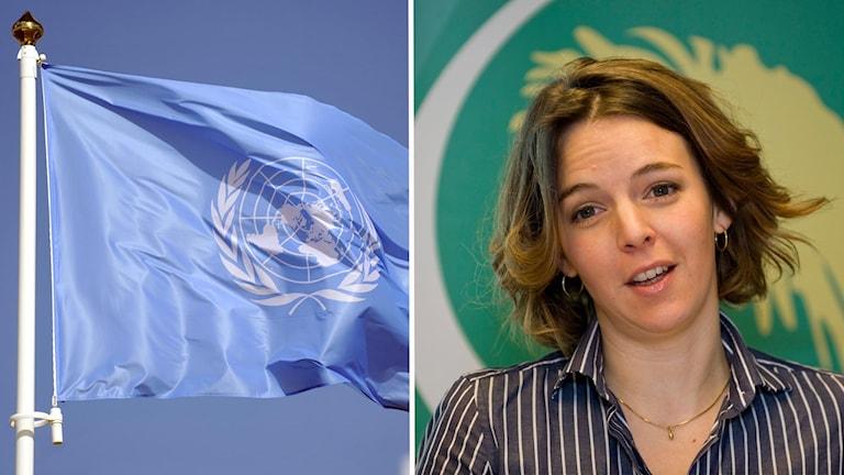 En Fn-flagga och en bild på Zaida Catalán.