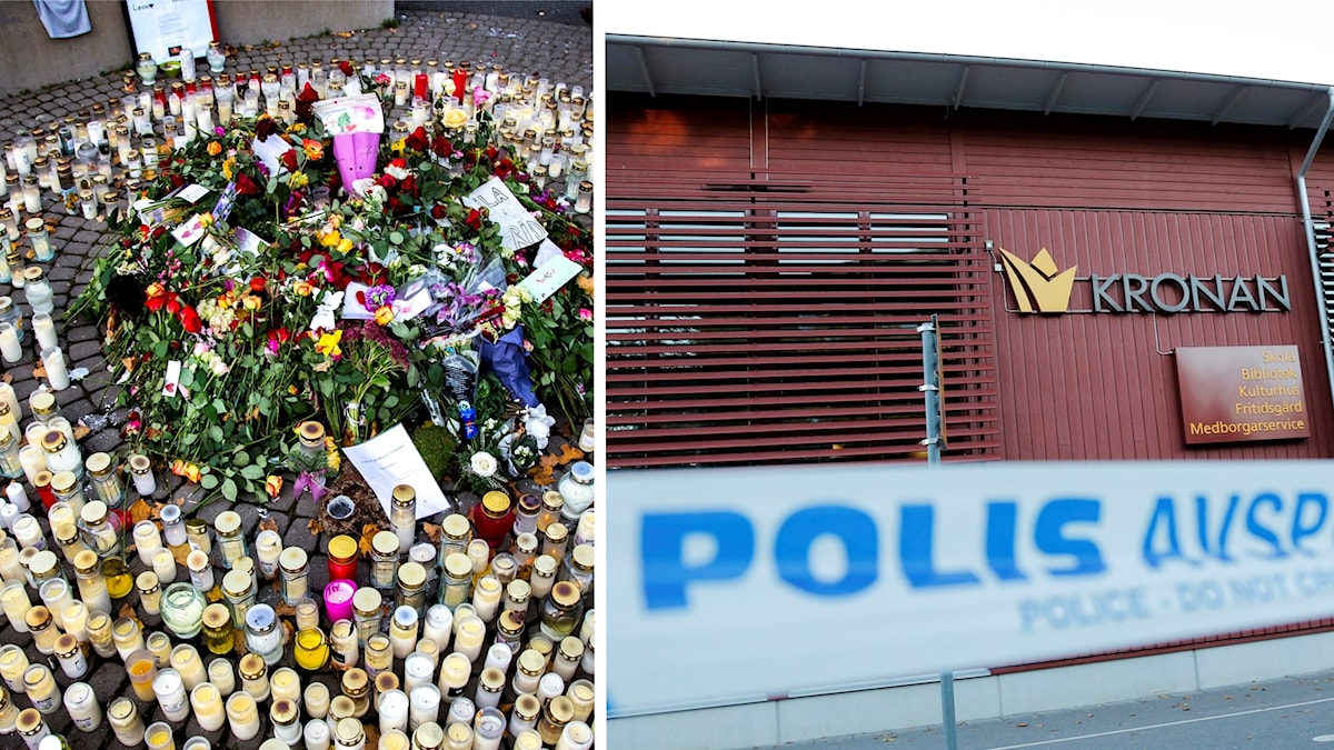 Blommor och tända ljus framför skolan Kronan i Trollhättan.