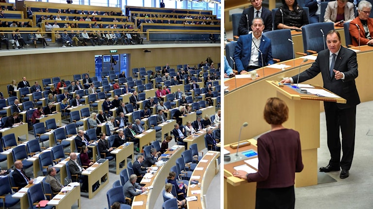 Statsminister Stefan Löfven debatterar med Moderaternas partiledare Anna Kinberg Batra i riksdagen.