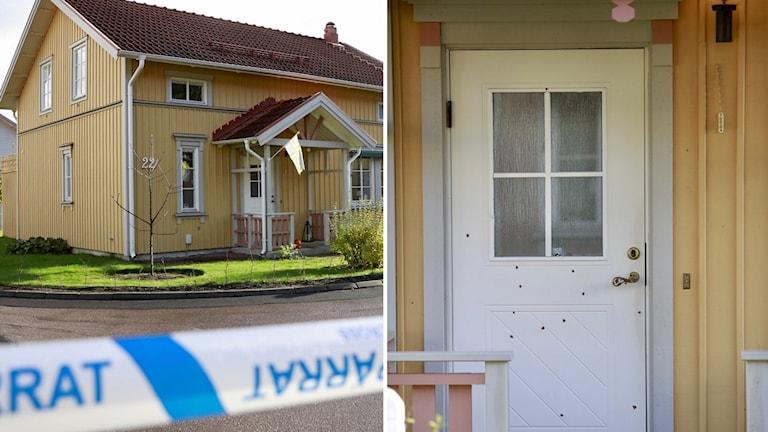En bild på huset där en polis bor, som någon sköt mot.