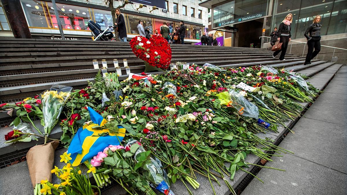Många stockholmare har lagt ut blommor vid Åhléns City, de nya stenlejonen och på trappan vid Sergels torg med anledning av årsdagen av terrordådet 7:e april 2017 på Drottninggatan i Stockholm.