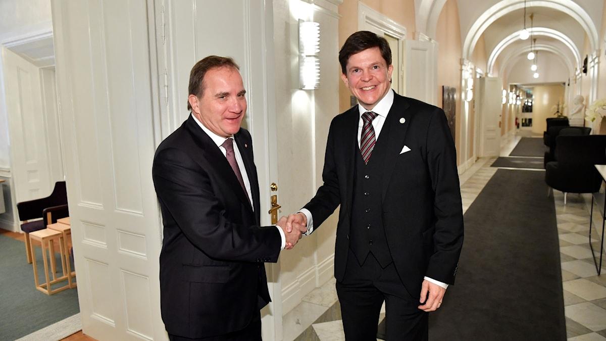 Socialdemokraternas Stefan Löfven och riksdagens talman Andreas Norlén.