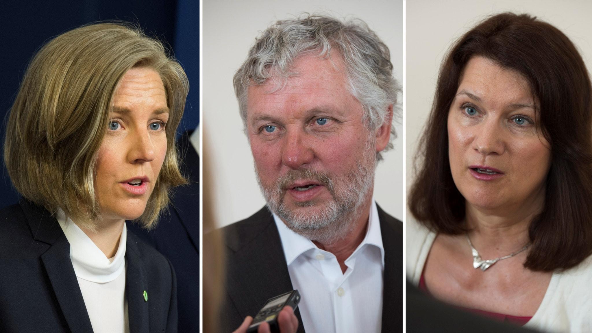 Montage av bilder på den nya ministrarna: Karolina Skog (S), Peter Eriksson (MP) och Ann Linde (S)