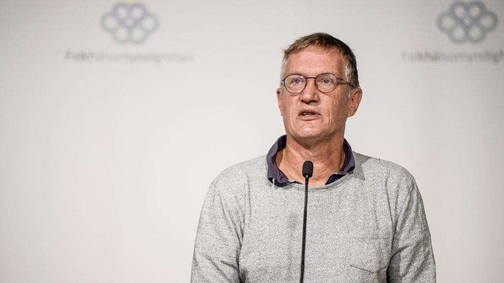 Statsepidemiologen Anders Tegnell på dagens presskonferens på Folkhälsomyndigheten.