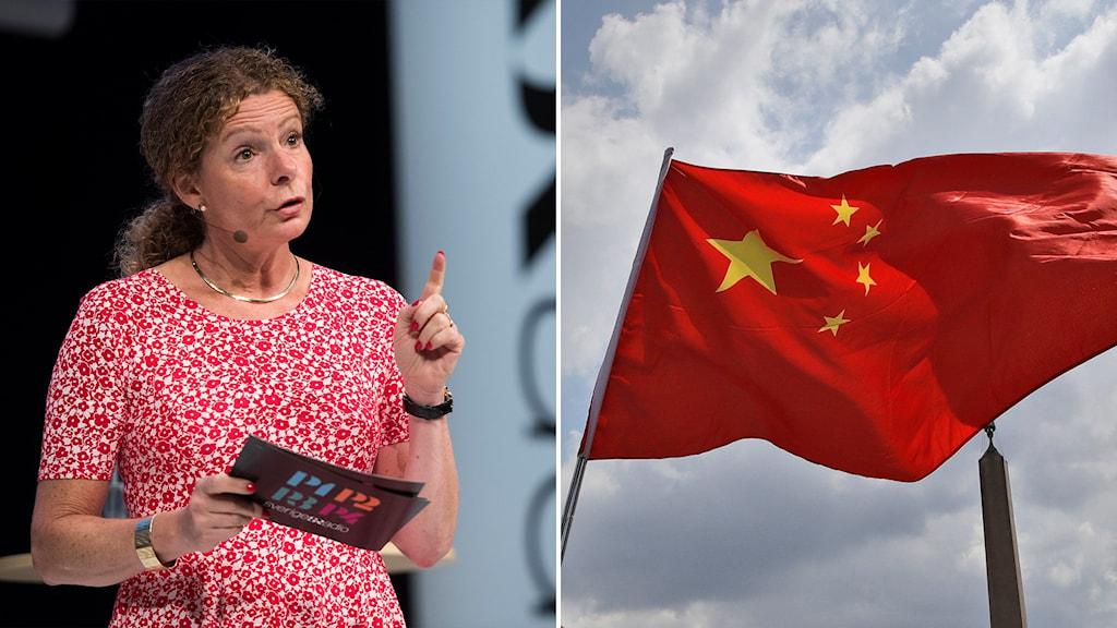 Cilla Benkö, Sveriges Radios vd, samt den kinesiska flaggan.