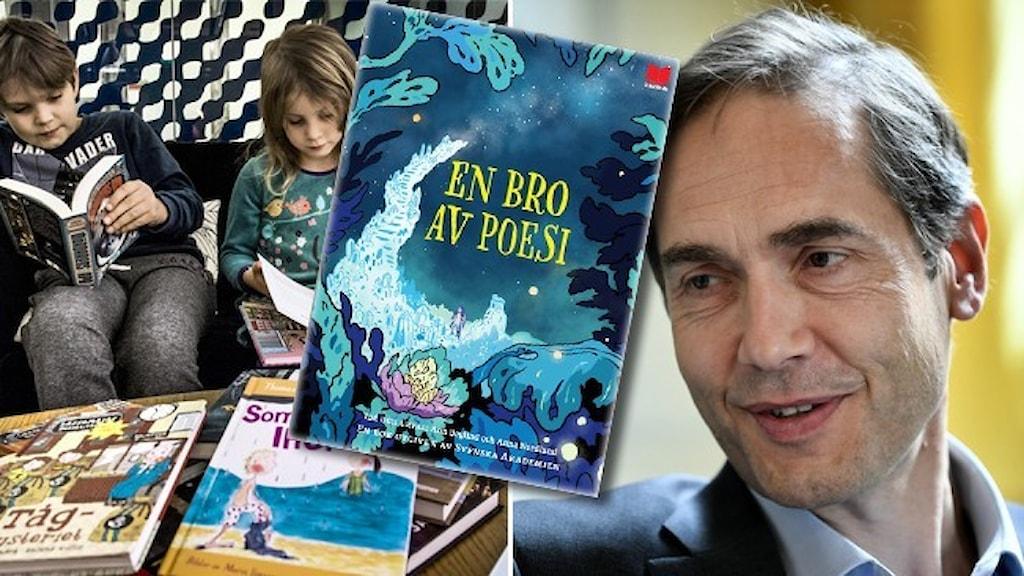 """Två barn i 6-8-årsåldern sitter och läser. Ett porträtt av Mats Malm som ser nöjd ut. Infällt i bilderna är omslaget till boken """"En bro av poesi""""."""