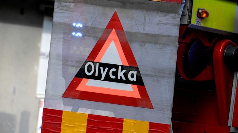 """En skylt med texten """"olycka"""". Foto: Johan Nilsson/TT"""
