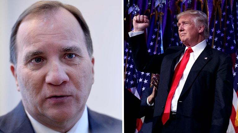 Sveriges statsminister Stefan Löfven och USA:s valda president Donald Trump.