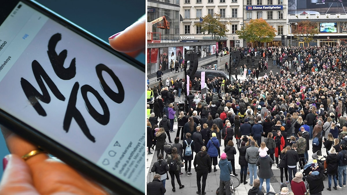 Manifestation mot sexuella trakasserier och övergrepp, på Sergels torg i Stockholm.