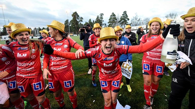 Spelarna i Linköping jublar över att de vinner SM-guldet.