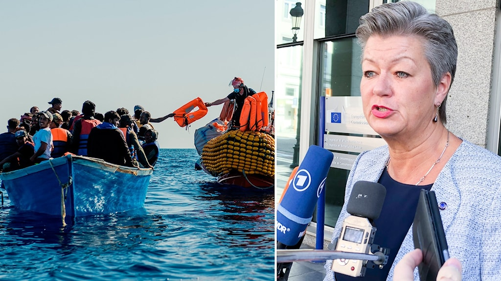 Montage på flyktingar i båt på medelhavet och EU-kommissionär Ylva Johansson.