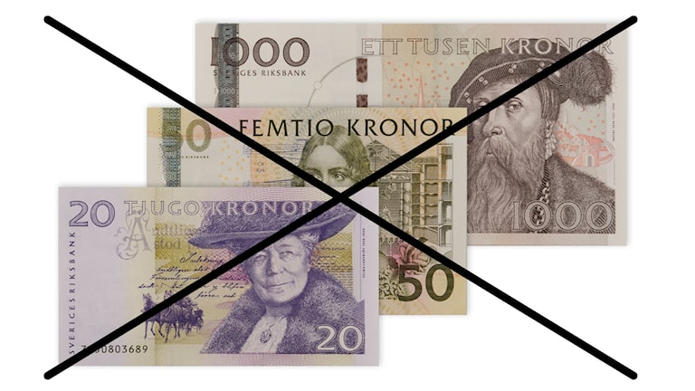 En bild på de gamla sedlarna i valören 20 kronor, 50 kronor och 1000 kronor, med ett kryss över.