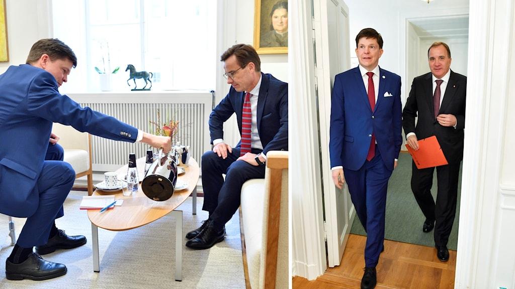 Talmannen Andreas Norlén med Moderaternas partiledare Ulf Kristersson och Socialdemokraternas partiledare Stefan Löfven.