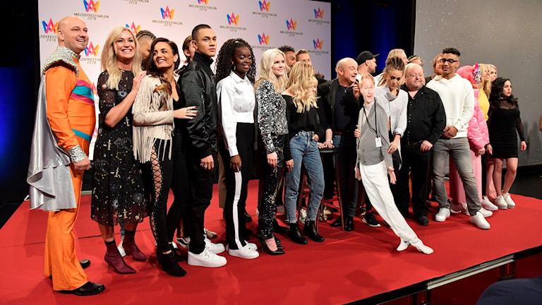 Artisterna som ska tävla i Melodifestivalen nästa år.
