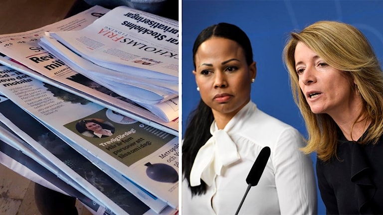 Dagstidningar och en bild på demokratiminister Alice Bah Kuhnke och utredaren Anette Novak