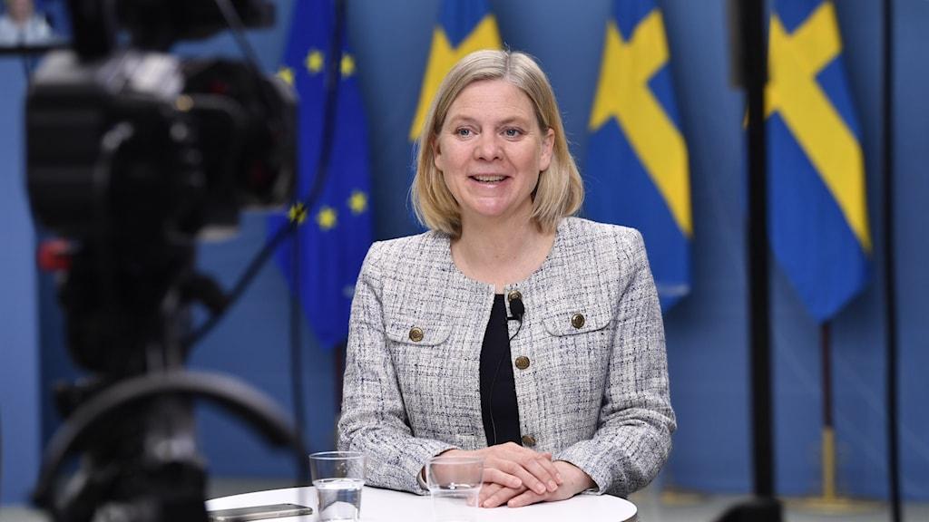 Finansminister Magdalena Andersson (S) presenterar en prognos för Sveriges ekonomi.