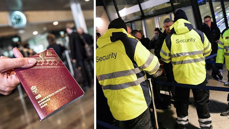 En person håller fram med ett pass, och personer kontrollerar pass vid gränsen mellan Sverige och Danmkark.