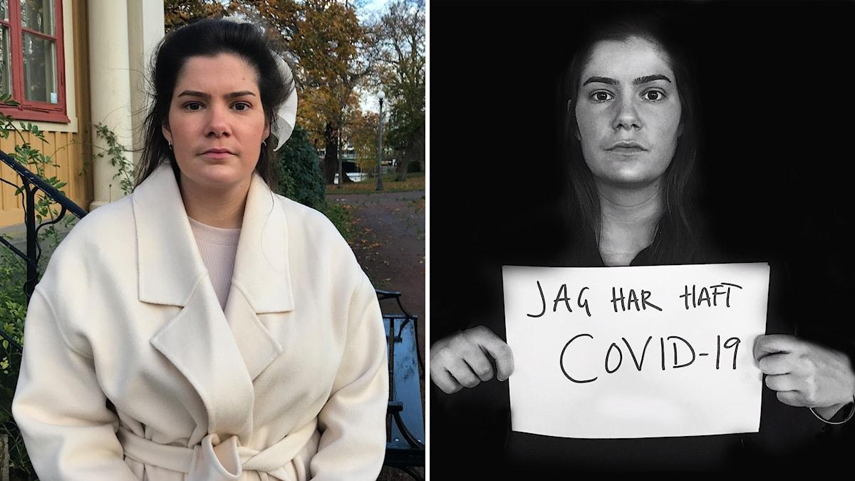 Två delad bild  med samma kvinna. Till vänster i en park till häger svart-vit bild där hor hon håller en skylt med texten jag har haft covid-19