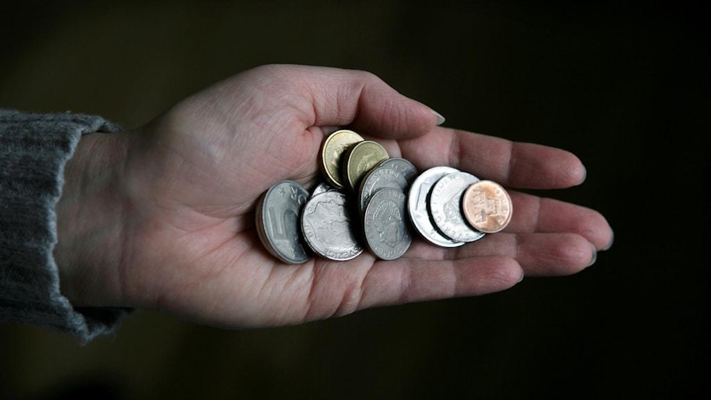 En hand fylld med svenska mynt.