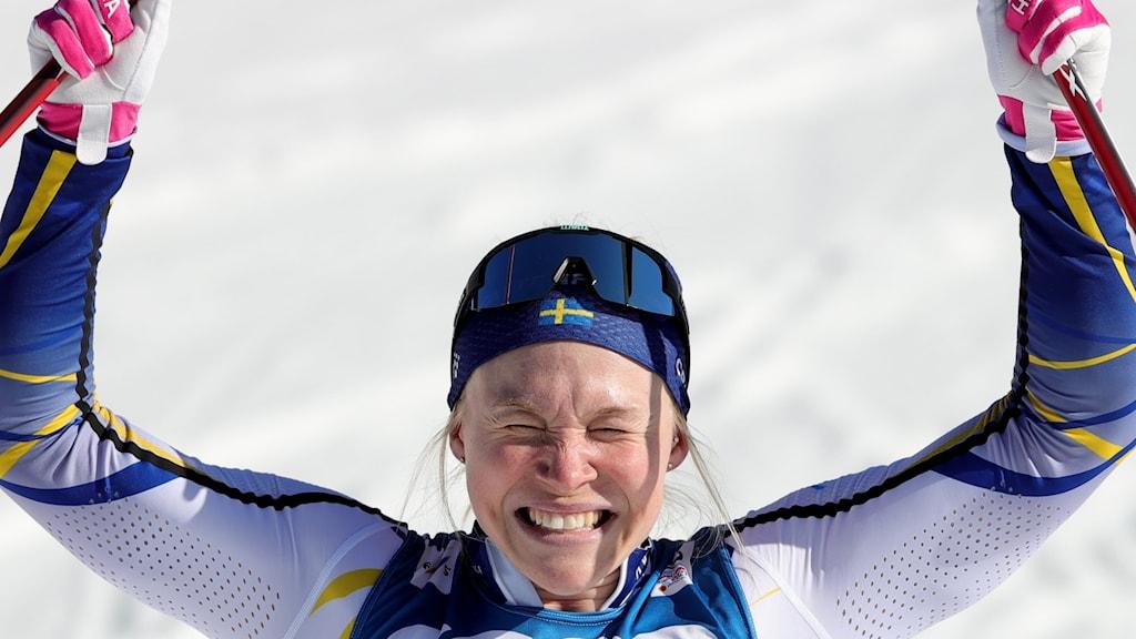 Sveriges Jonna Sundling på skid-VM i tyska Obersdorf.