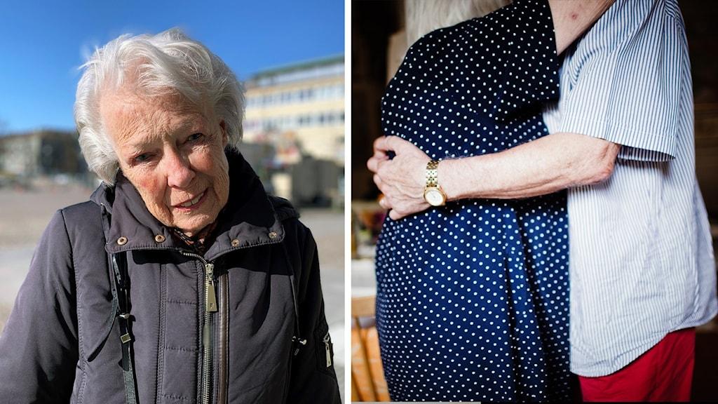 En bild på den äldre kvinnan Mildred Johansson, och en bild på två personer som kramas.
