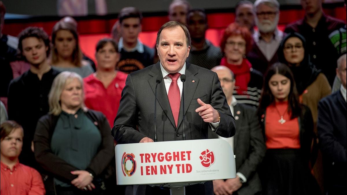 Statsminister Stefan Löfven (S) avslutningstalar på Socialdemokraternas partikongress i Svenska Mässan i Göteborg på onsdagen.