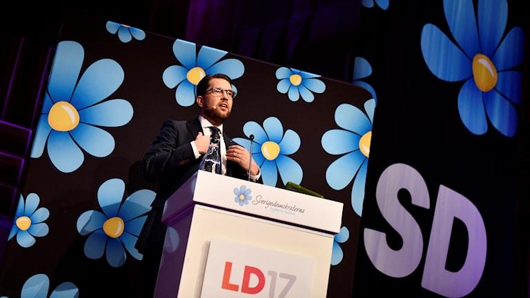 Partiledaren Jimmie Åkesson håller tal på Sverigedemokraternas möte.