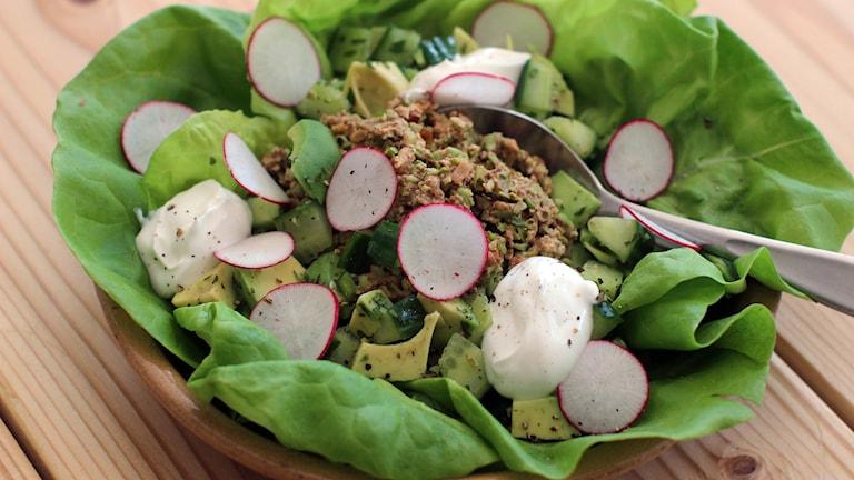 Vegetarisk mat som ligger på en tallrik, bestånde av sallad, valnötter och avokado