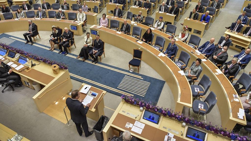Statsminister Stefan Löfven håller tal i riksdagen.