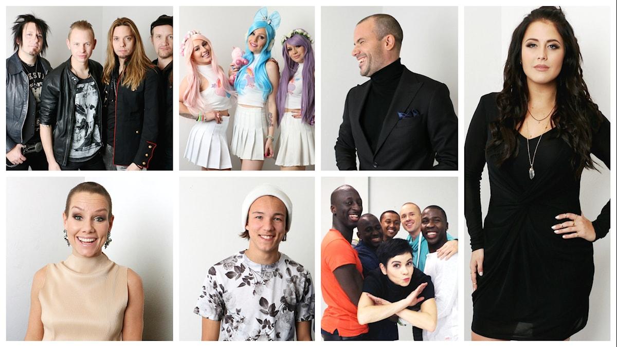 Från vänster: Eclipse, Dolly Style, Martin Stenmarck, Linda Bengtzing, Frans, Panetoz och Molly Sandén.