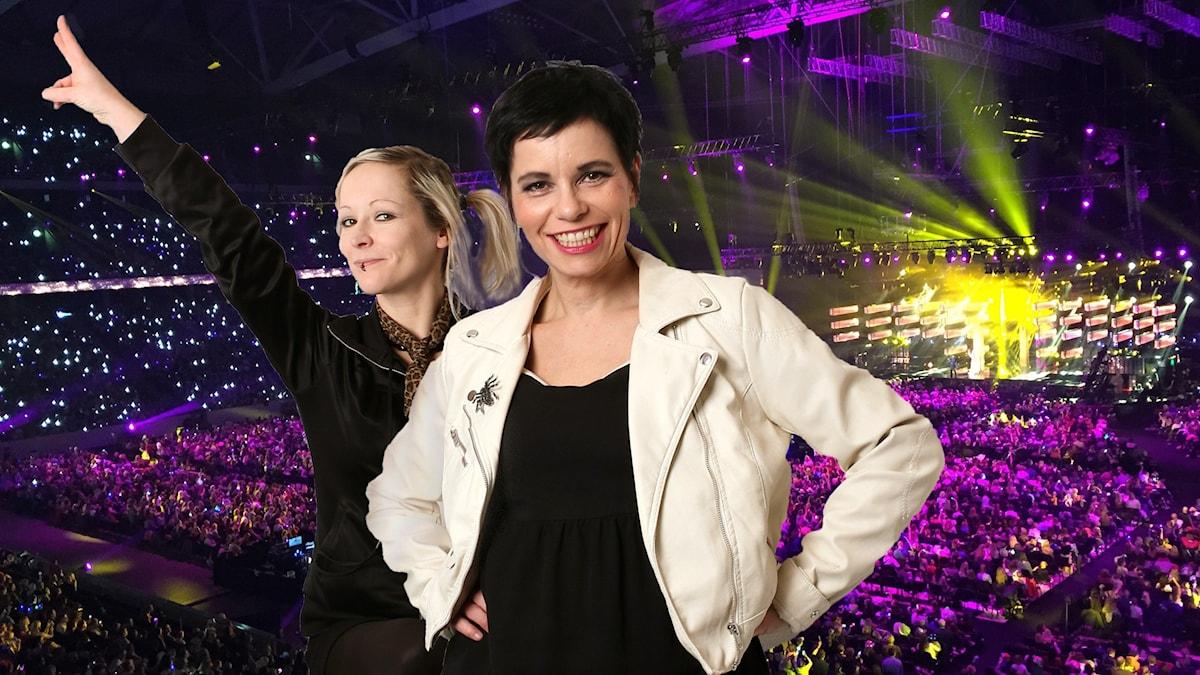 Ronnie Ritterland och Carolina Norén framför publikhavet i Friends arena. Foto: Sveriges Radio samt Gregerravik/Flickr (CC BY 2.0)