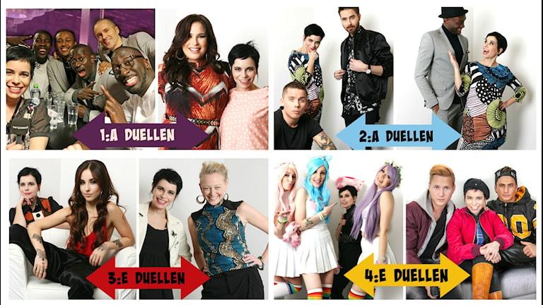 Panetos möter Molly Pettersson Hammar, Albin & Mattias möter Borie René, Isa möter SaRaha och Dolly Style möter Samir & Victor i Andra Chansen i Melodifestivalen 2016.