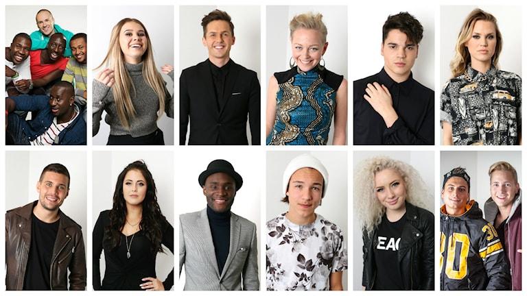 Finalisterna i Melodifestivalen i startordning från vänster: Panetoz, Lisa Ajax, David Lindgren, SaRaha, Oscar Zia, Ace Wilder, Robin Bengtsson, Molly Sandén, Boris René, Frans, Wiktoria, Samir & Viktor.