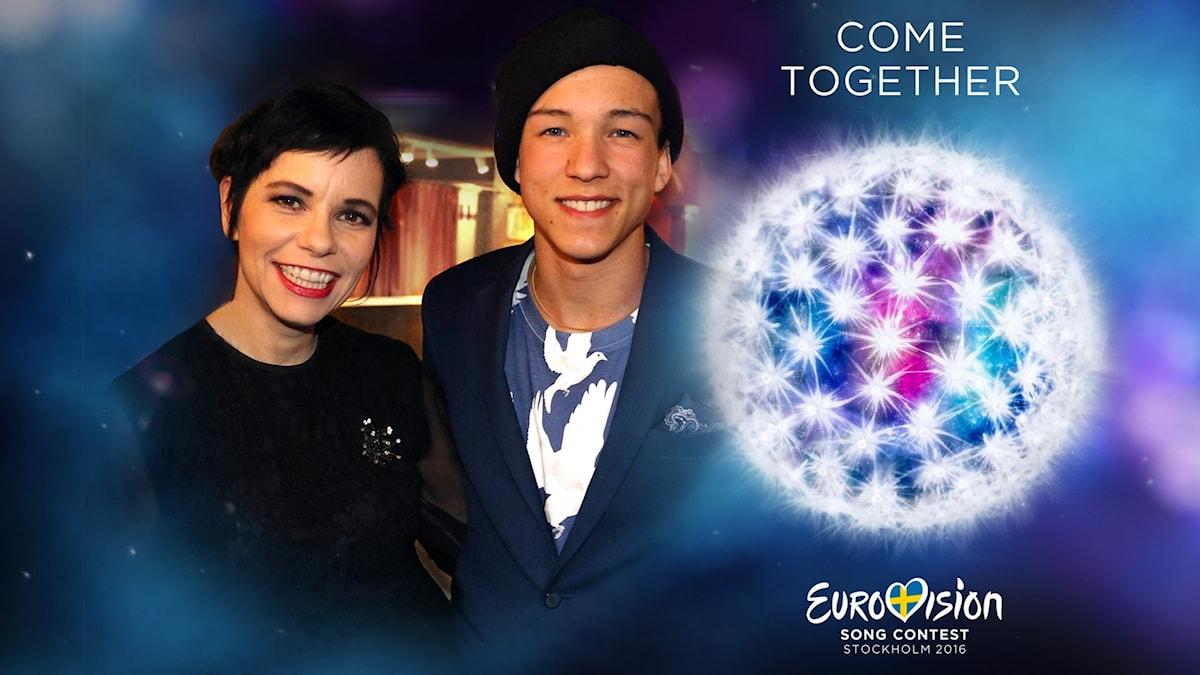 Carolina Norén och Frans Jeppsson Wall, Eurovisionloggan.