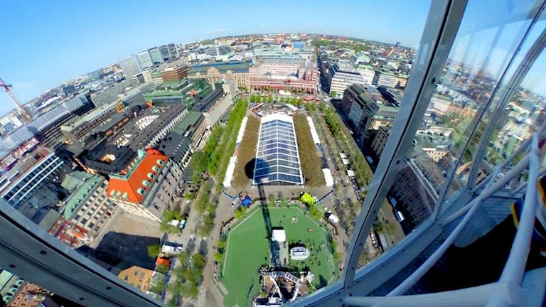 Del av en 360-gradersvy över Kungsträdgården, sett från ett utkikstorn.