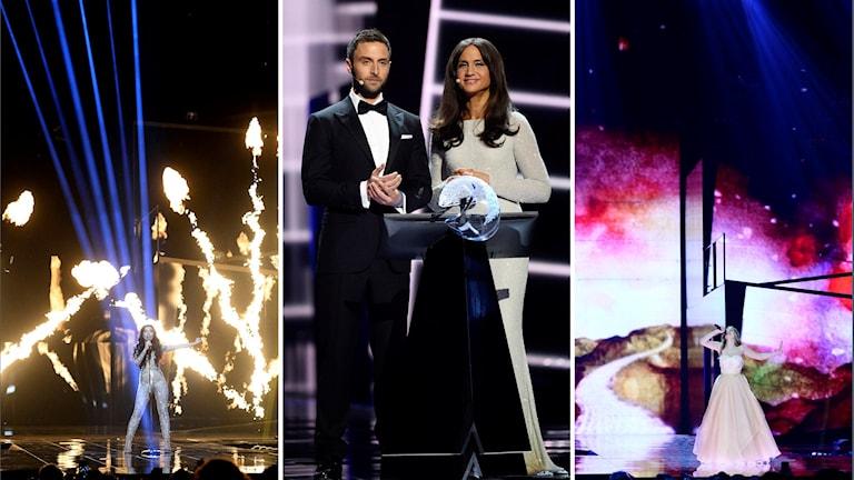 Bidrag ur semifinal 1. Programledarparte Måns Zelmerlöw och Petra mede.