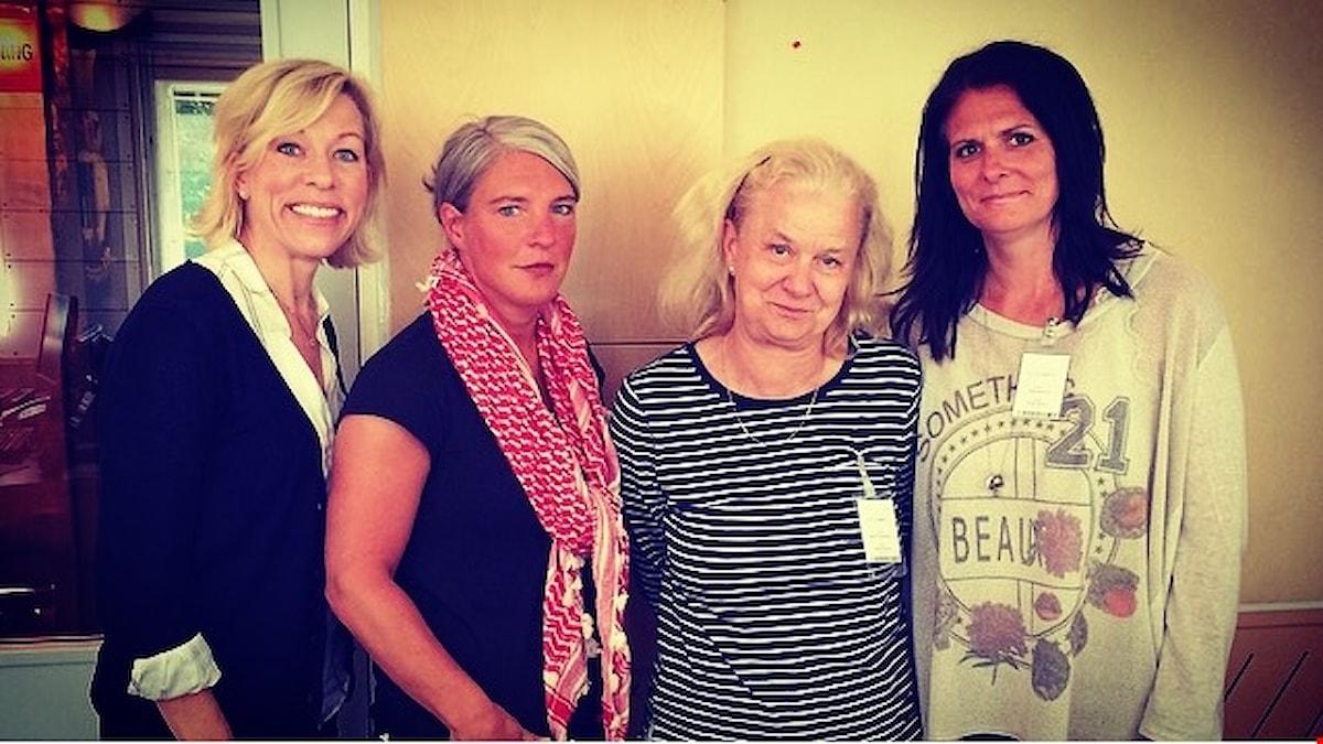 Ginna Lindberg, Ekots utrikeschef, Sara Stenholm, programledare, Karin Henriksson, Svenska Dagbladets USA-korrespondent och Frida Stranne, USA-forskare Högskolan i Halmstad. Foto: Cecilia Khavar, Sveriges Radio