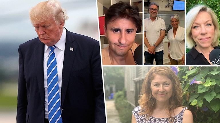 Delad bild: USA:s president Donald Trump, Fernando Arias, Kajsa Boglind, Ginna Lindberg, Sara Stenholm och Anders Ask.