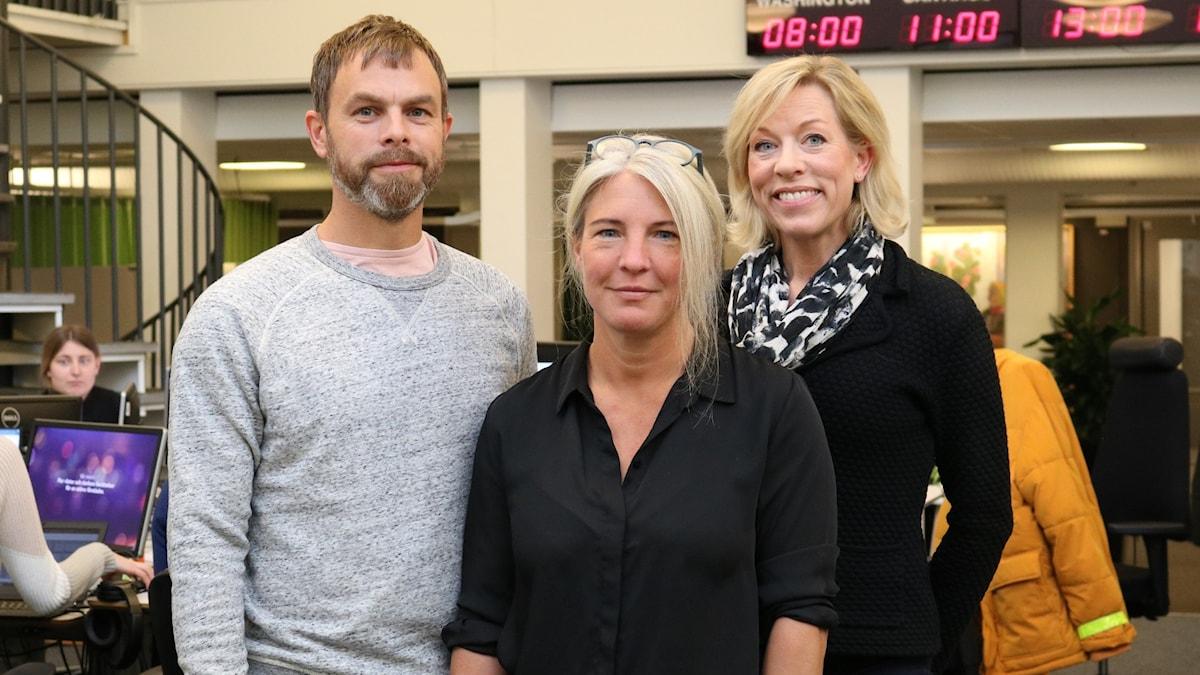 Ivar Ekman, Sara Stenholm Pihl och Ginna Lindberg.