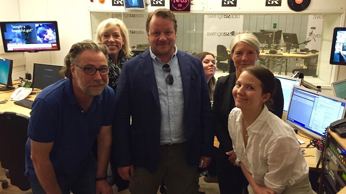 Anders Ask, Ginna Lindberg, Johan-Mathias Sommarström, Marie Persson, Sara Stenholm Pihl, Cecilia Khavar. Foto: Ola Henriksson, Sveriges Radio