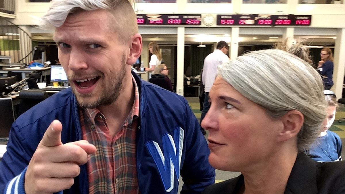Henrik Torehammar, programledare för Aftonbladets USA! USA! USA! och Sara Stenholm. Foto: Sara Stenholm, Sveriges Radio.