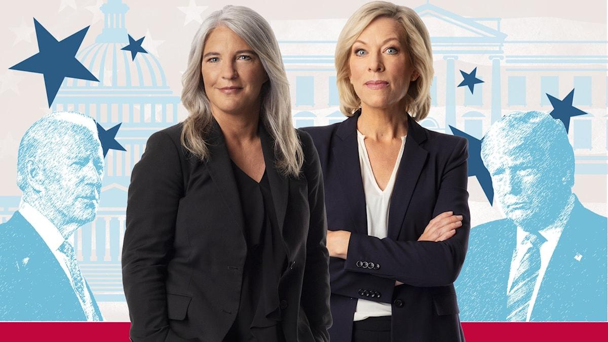 Sara Stenholm och Ginna Lindberg på USApodden.