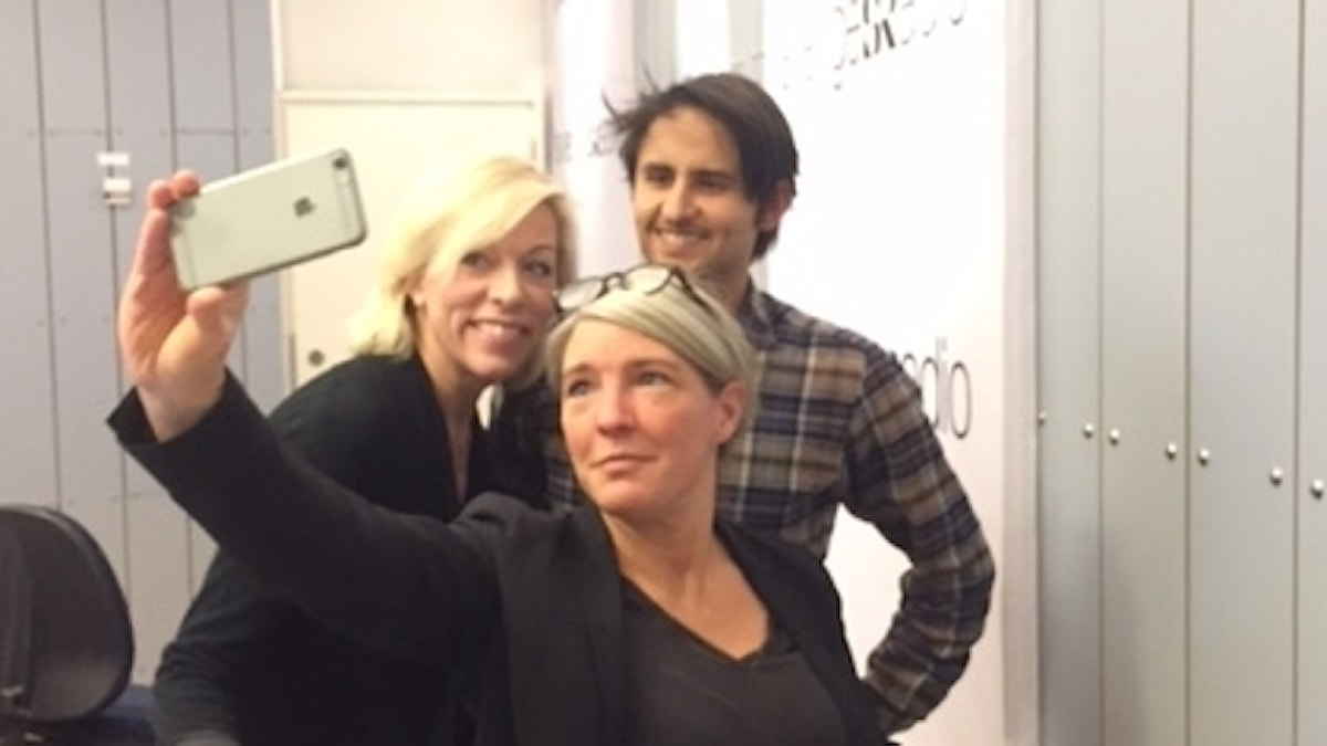 Veckans selfie med Ginna Lindberg, Sara Stenholm Pihl och podd-debutanten Fernando Arias.