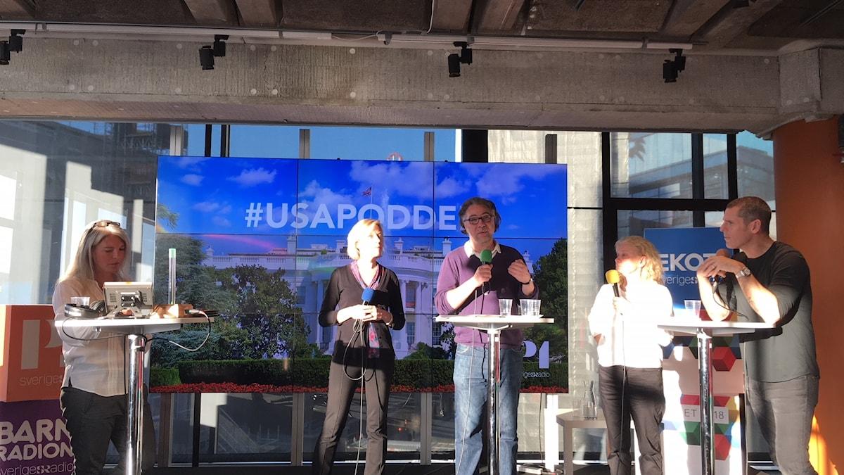 Ginna Lindberg, utrikeschef Ekot, Anders Ask, utrikesredaktör på Ekot, Karin Henriksson, författare och frilansjournalist i Washington D.C och Billy McCormac, USA-expert och fd republikan.