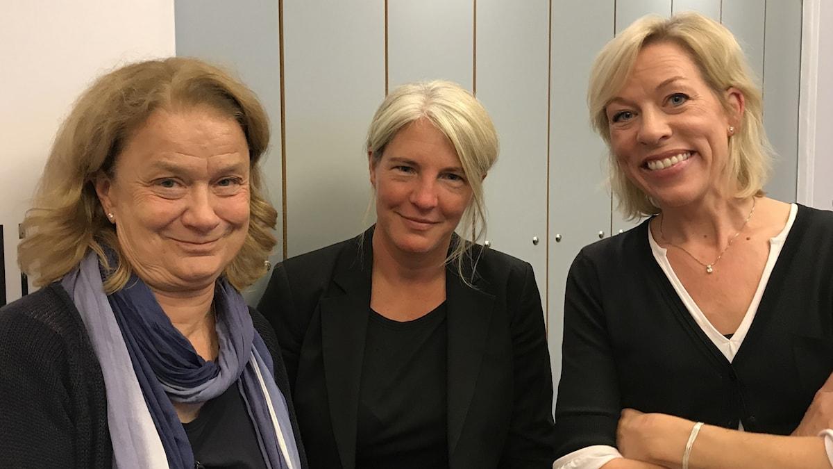 Karin Henriksson, Sara Stenholm Pihl och Ginna Lindberg.