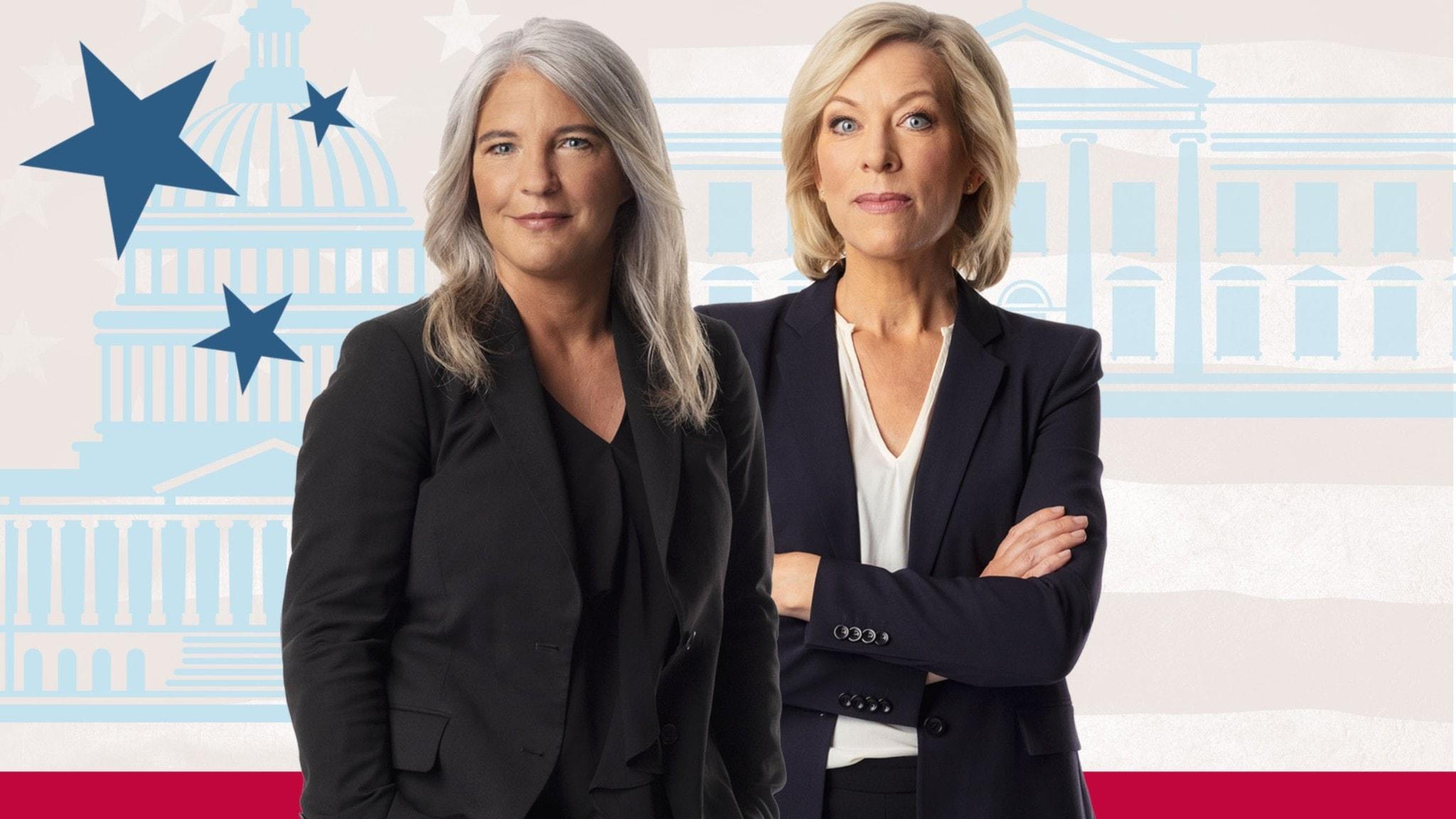 USApoddens Sara Stenholm och Ginna Lindberg.