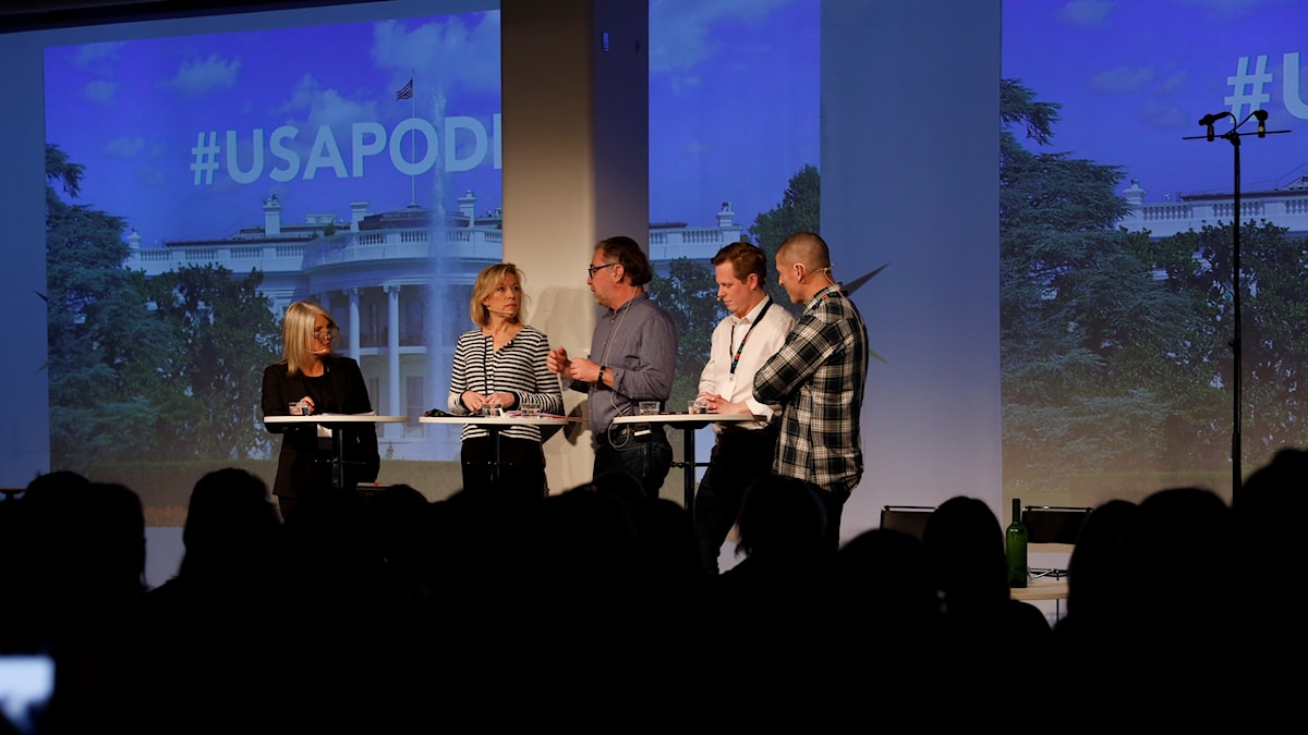 Sara Stenholm Pihl, Ginna Lindberg, Anders Ask, Andreas Utterström, Billy McCormac på Poddfest 2019