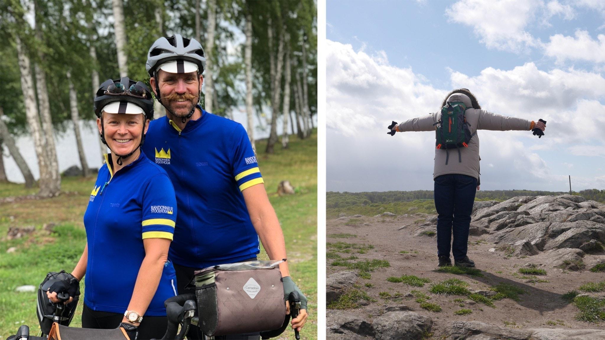 Åsa och Henrik Hittig står vid sina cyklar och ler mot kameran. Till höger står en man med vinterjacka med ryggen mot kameran och sträcker ut händerna.