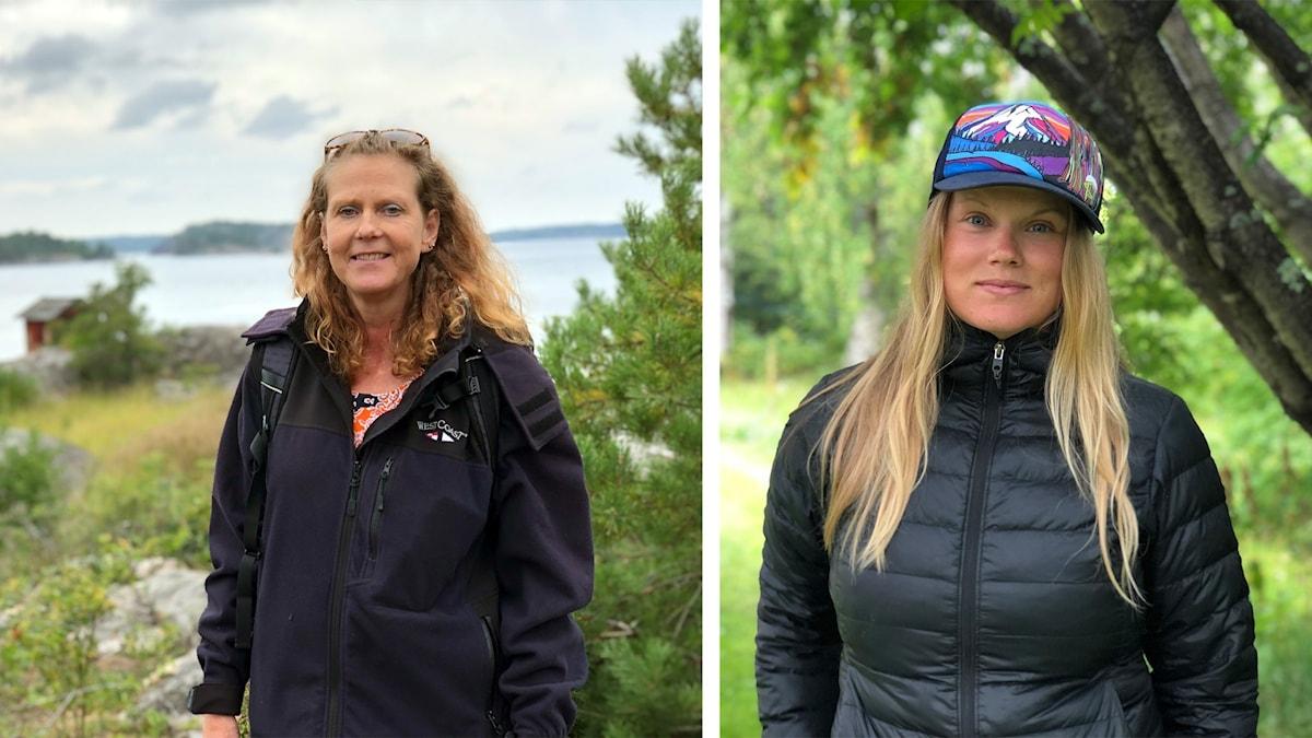 Louise Zetterström och Linda Åkerberg tittar båda in i kameran.